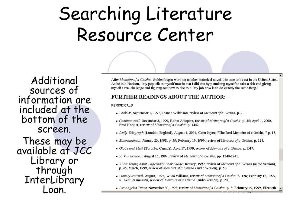 Searching Literature Resource Center Additional sources of information are included at the bottom of the screen.