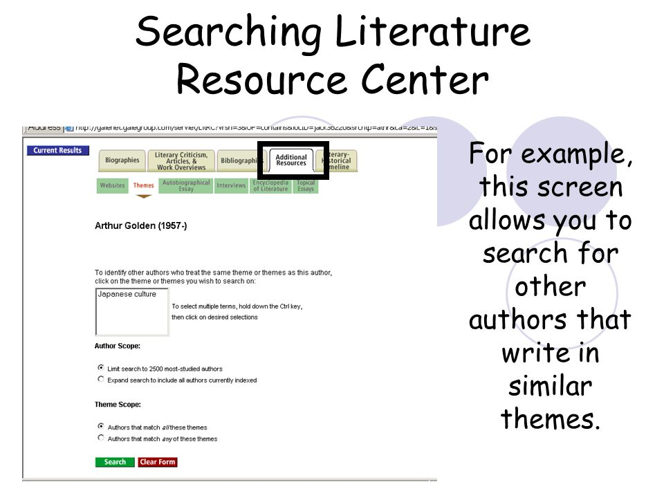 Searching Literature Resource Center For example, this screen allows you to search for other authors that write in similar themes.
