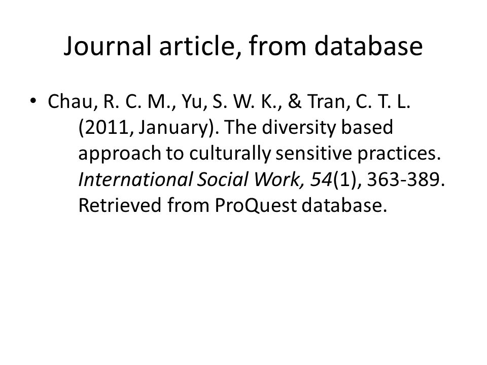 Journal article, from database Chau, R. C. M., Yu, S.