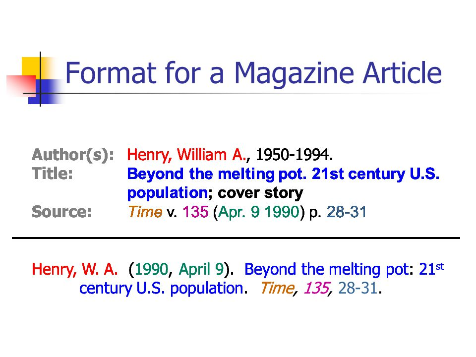 Format for a Magazine Article Author(s):Henry, William A., 1950-1994.