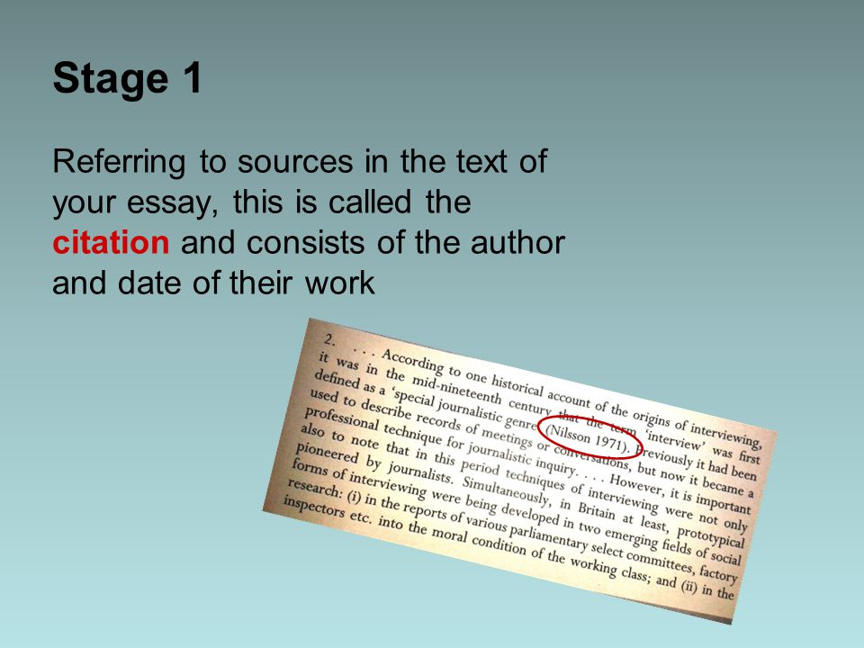 Stage 1 Referring to sources in the text of your essay, this is called the citation and consists of the author and date of their work