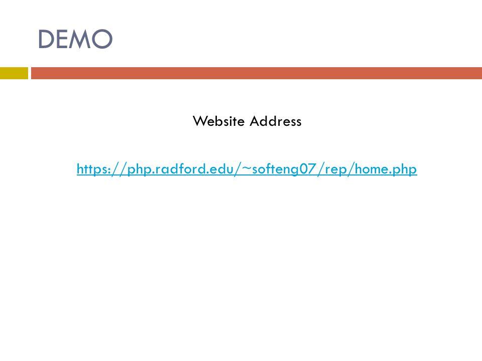DEMO Website Address https://php.radford.edu/~softeng07/rep/home.php