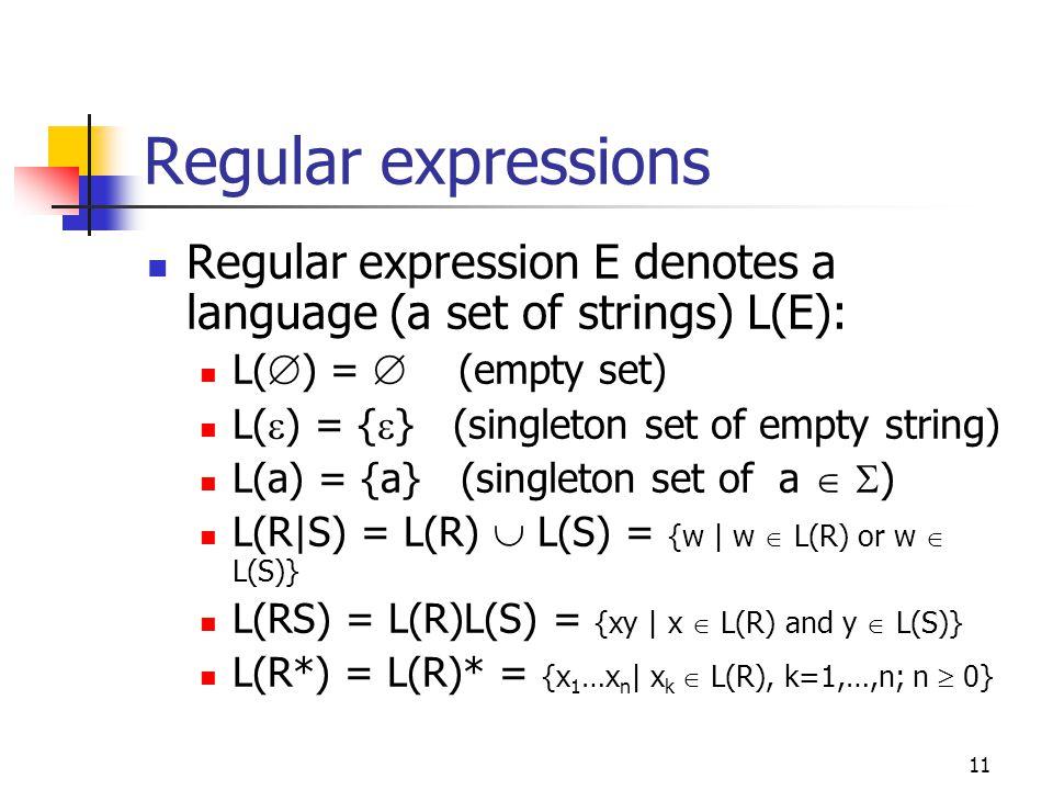 11 Regular expressions Regular expression E denotes a language (a set of strings) L(E): L(  ) =  (empty set) L(  ) = {  } (singleton set of empty string) L(a) = {a} (singleton set of a   ) L(R|S) = L(R)  L(S) = {w | w  L(R) or w  L(S)} L(RS) = L(R)L(S) = {xy | x  L(R) and y  L(S)} L(R*) = L(R)* = {x 1 …x n | x k  L(R), k=1,…,n; n  0}