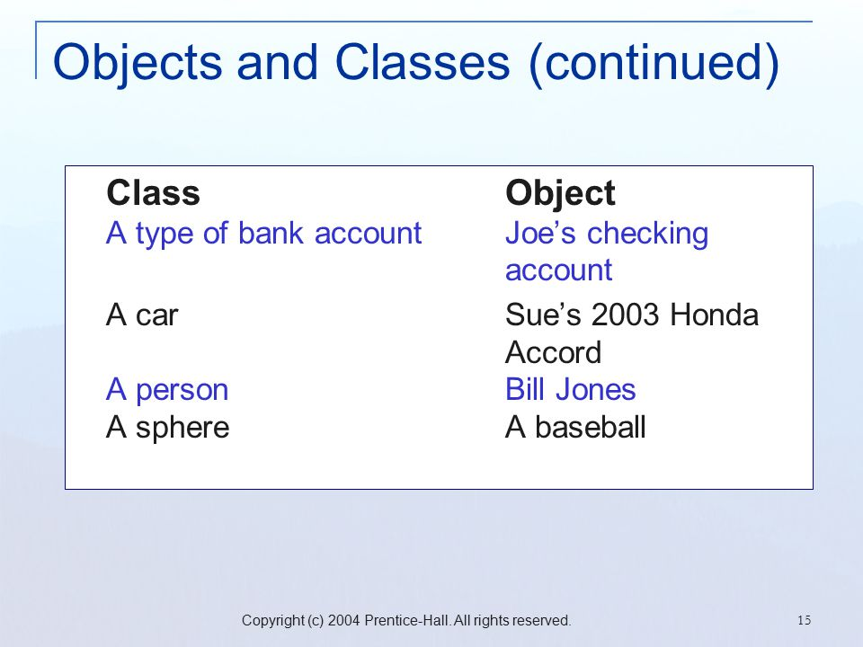 Copyright (c) 2004 Prentice-Hall. All rights reserved. 15 Objects and Classes (continued) ClassObject A type of bank accountJoe's checking account A c