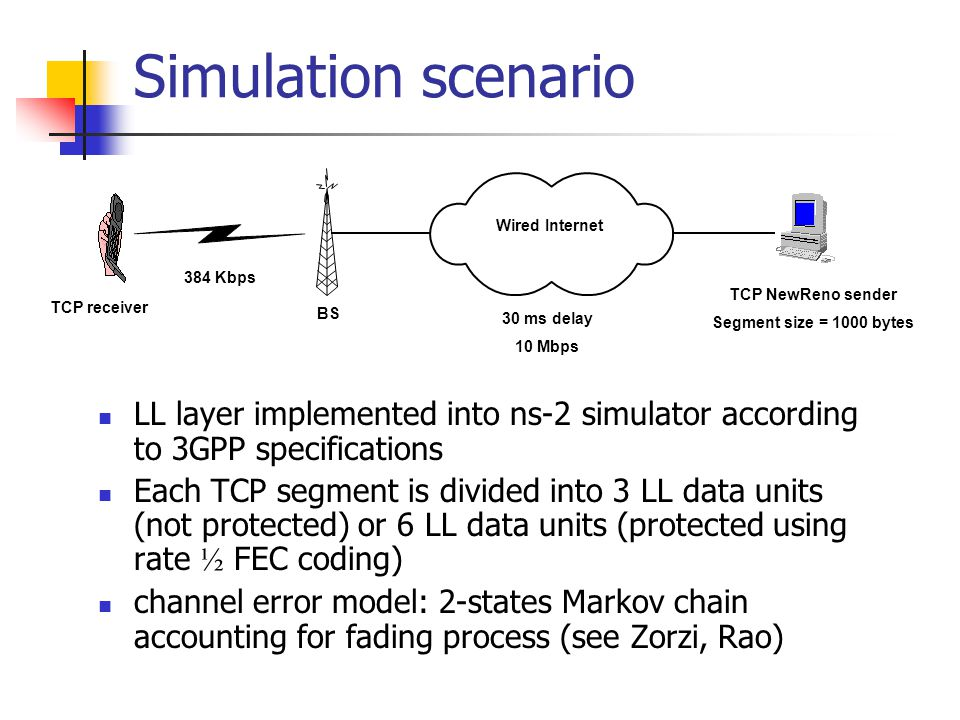 Simulation scenario 384 Kbps Wired Internet 30 ms delay 10 Mbps TCP receiver TCP NewReno sender Segment size = 1000 bytes BS LL layer implemented into ns-2 simulator according to 3GPP specifications Each TCP segment is divided into 3 LL data units (not protected) or 6 LL data units (protected using rate ½ FEC coding) channel error model: 2-states Markov chain accounting for fading process (see Zorzi, Rao)