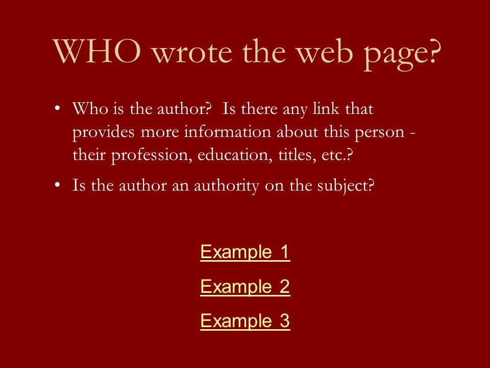 WHO wrote the web page. Who is the author.