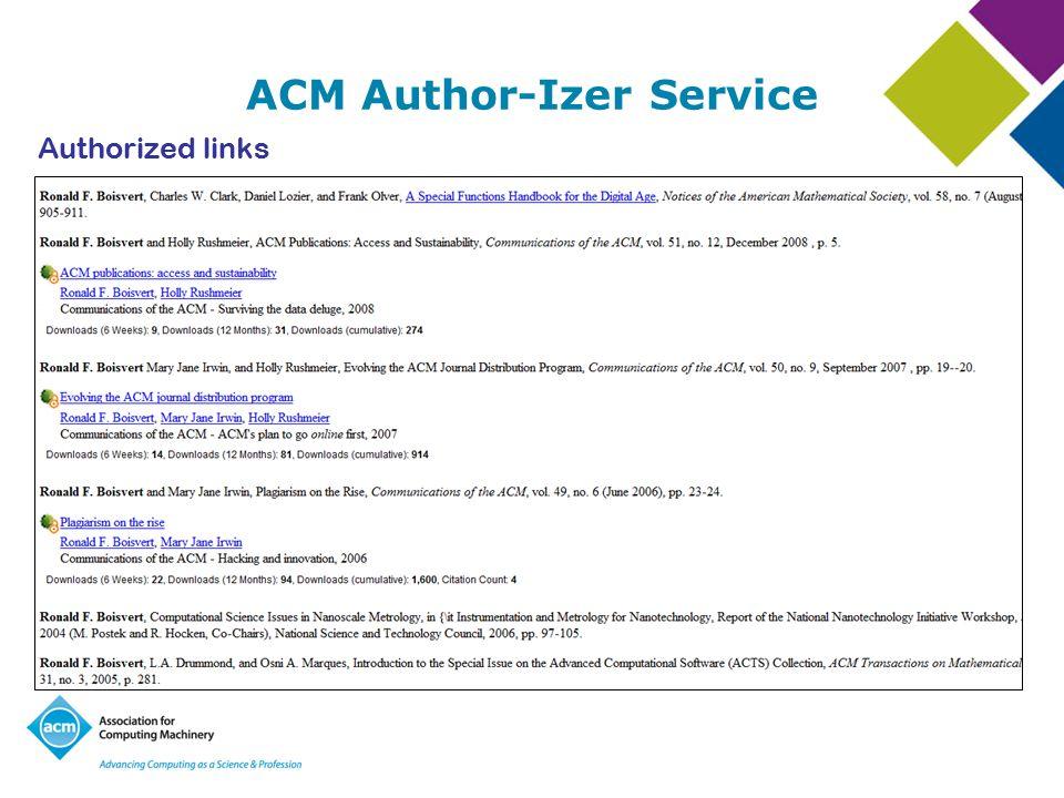 ACM Author-Izer Service Authorized links
