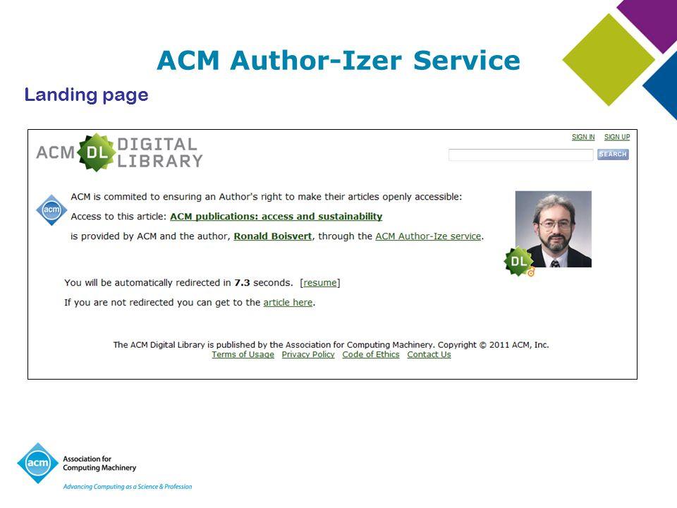 ACM Author-Izer Service Landing page