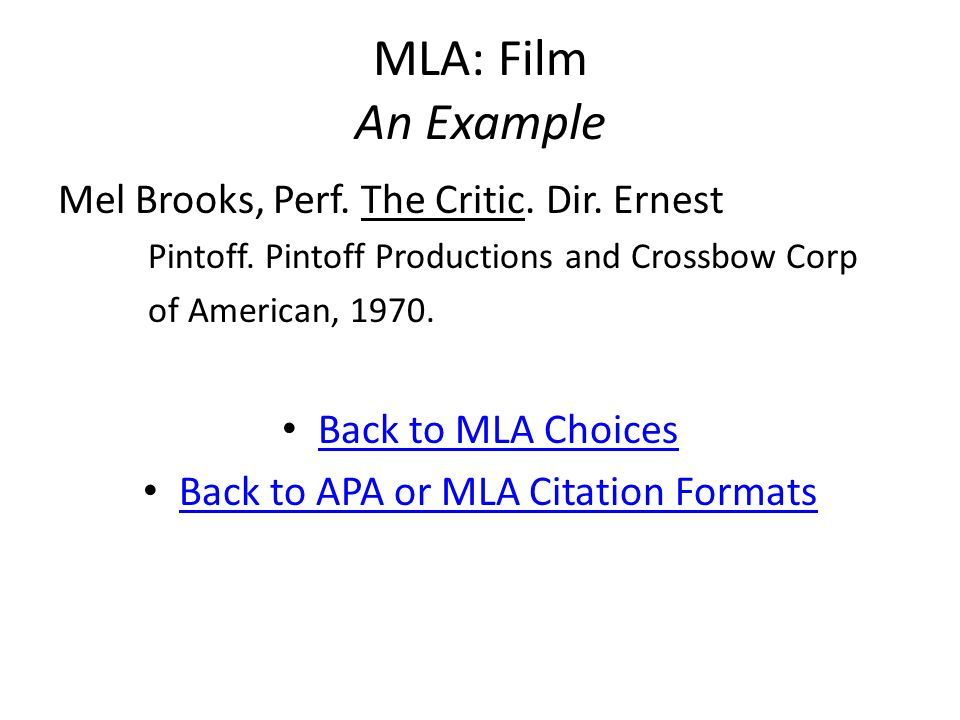 MLA: Film An Example Mel Brooks, Perf. The Critic.
