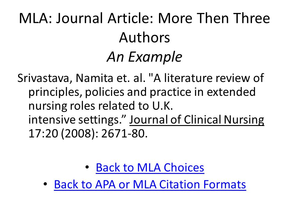 MLA: Journal Article: More Then Three Authors An Example Srivastava, Namita et.
