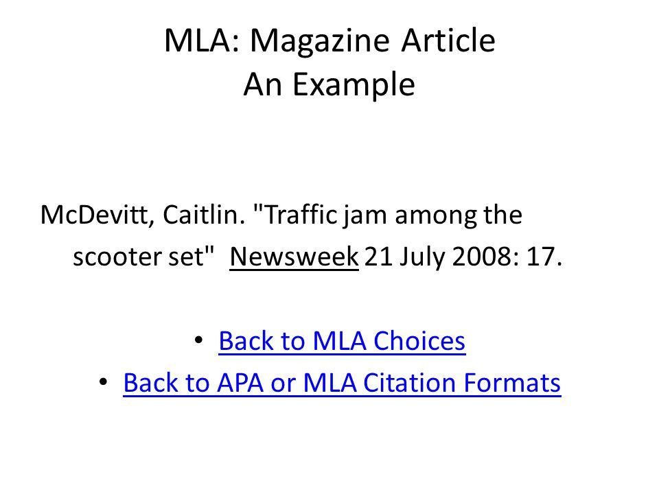 MLA: Magazine Article An Example McDevitt, Caitlin.