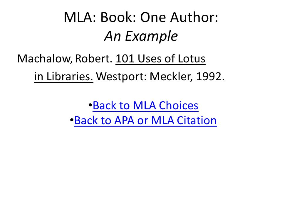 MLA: Chapter or Article in Anthology An Example Hale, Sarah Josepha.