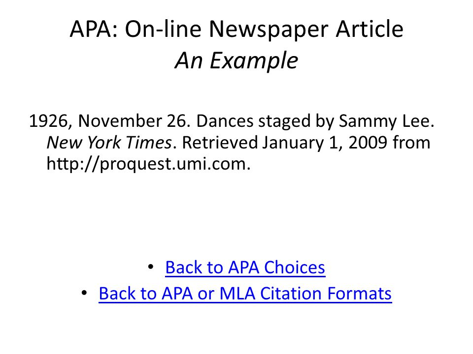 APA: On-line Newspaper Article An Example 1926, November 26.
