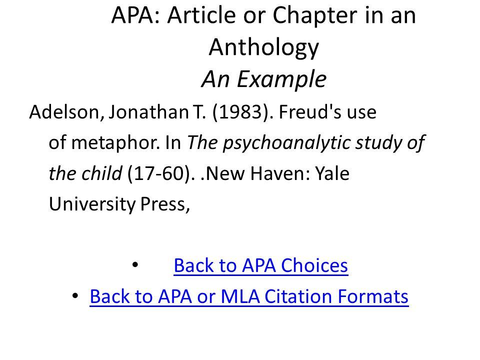 MLA: Encyclopedia Entry An Example Coffin, David R.