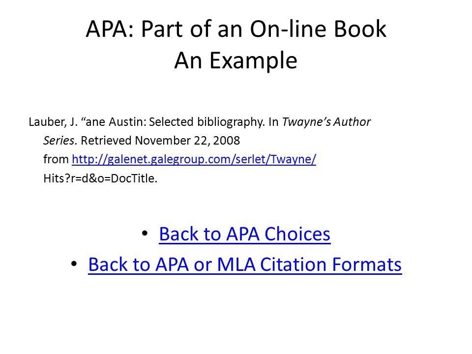 APA: Part of an On-line Book An Example Lauber, J.