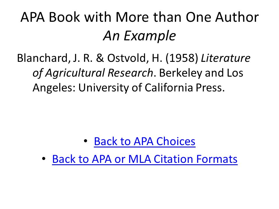 APA Book with More than One Author An Example Blanchard, J.