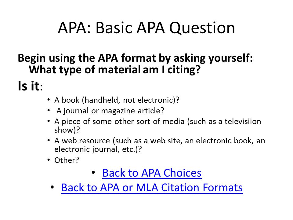 APA: On-line Article in Journal or Magazine Author s last name, Author s initials (date).