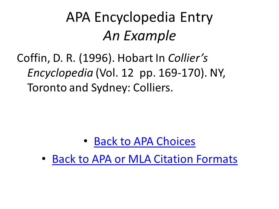 APA Encyclopedia Entry An Example Coffin, D. R. (1996).