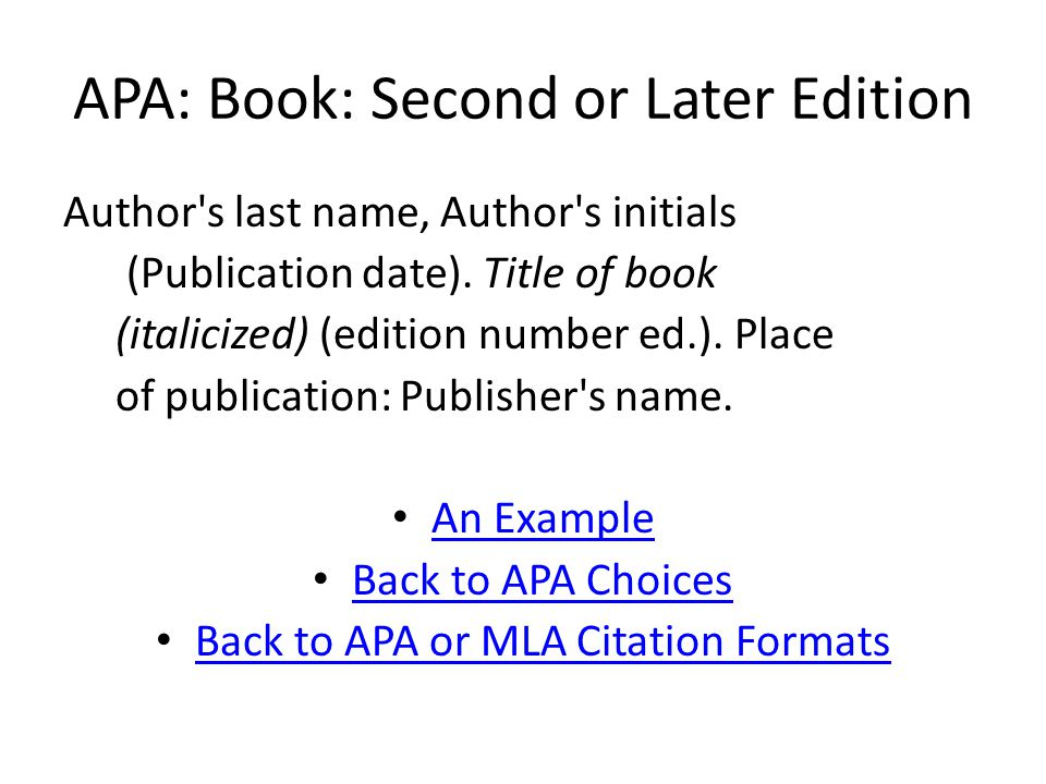 APA: Chapter in an Anthology An Example Hale, Sarah Josepha (1997).