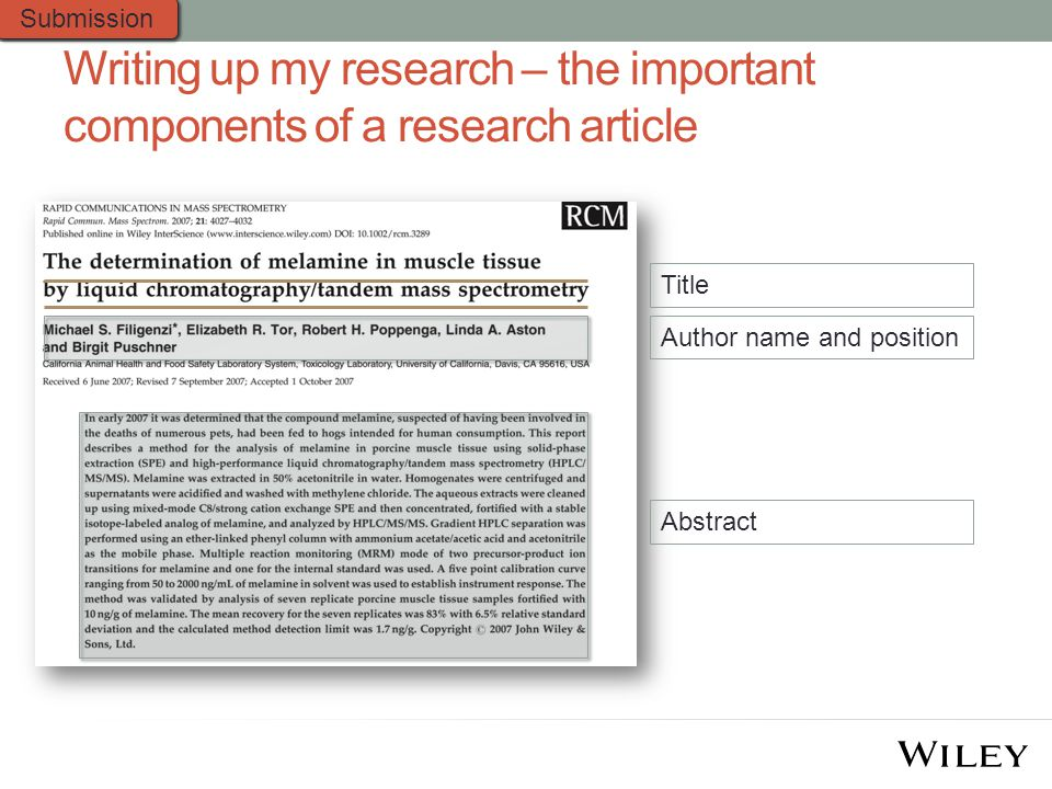 Writing up my research – the important components of a research article Title Abstract Author name and position Submission