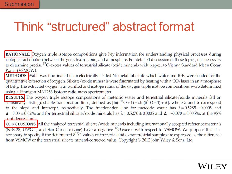 Think structured abstract format Submission
