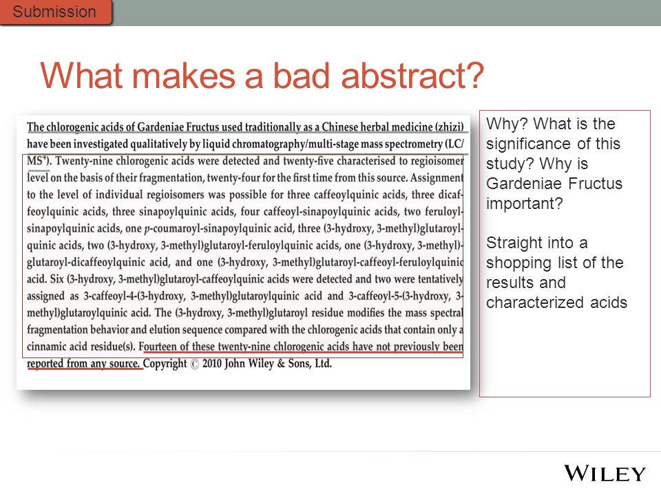 What makes a bad abstract.Why. What is the significance of this study.