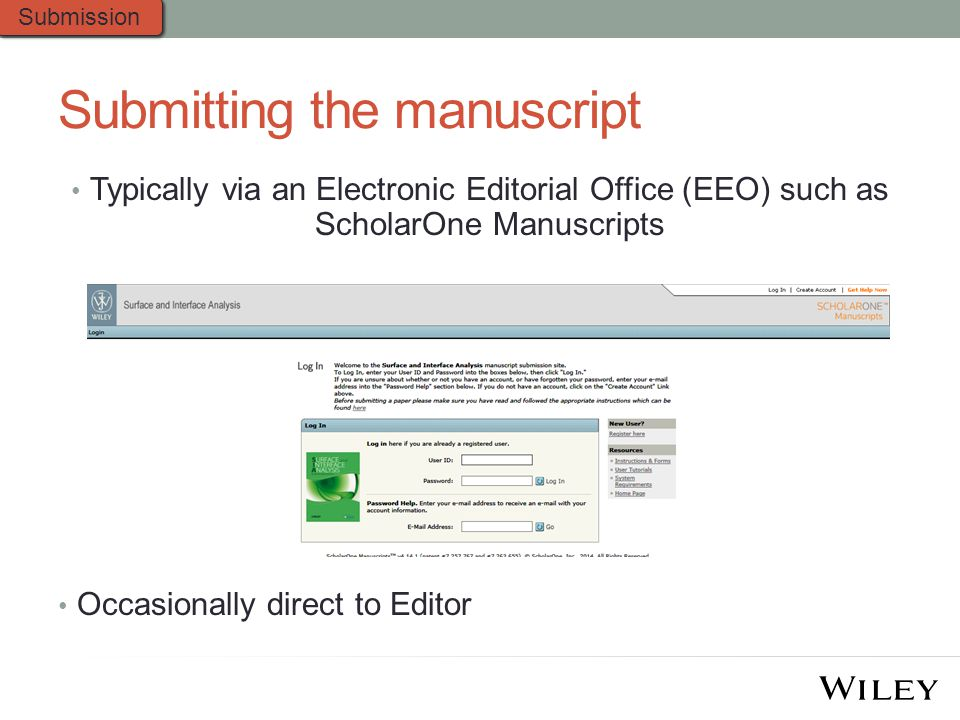 Submitting the manuscript Typically via an Electronic Editorial Office (EEO) such as ScholarOne Manuscripts Occasionally direct to Editor Submission