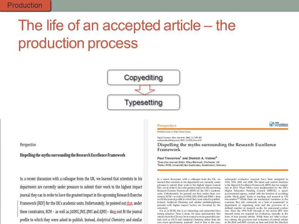 The life of an accepted article – the production process Copyediting Typesetting Production