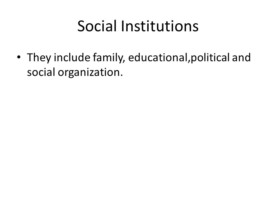 Social Institutions They include family, educational,political and social organization.