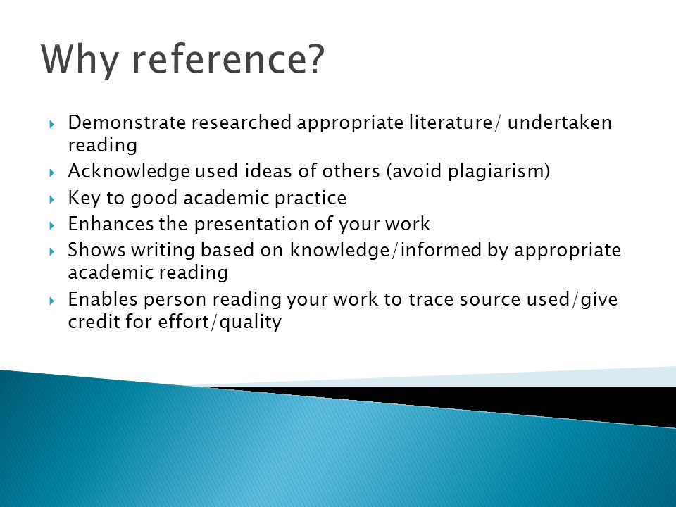 What to reference/cite  What should I reference.