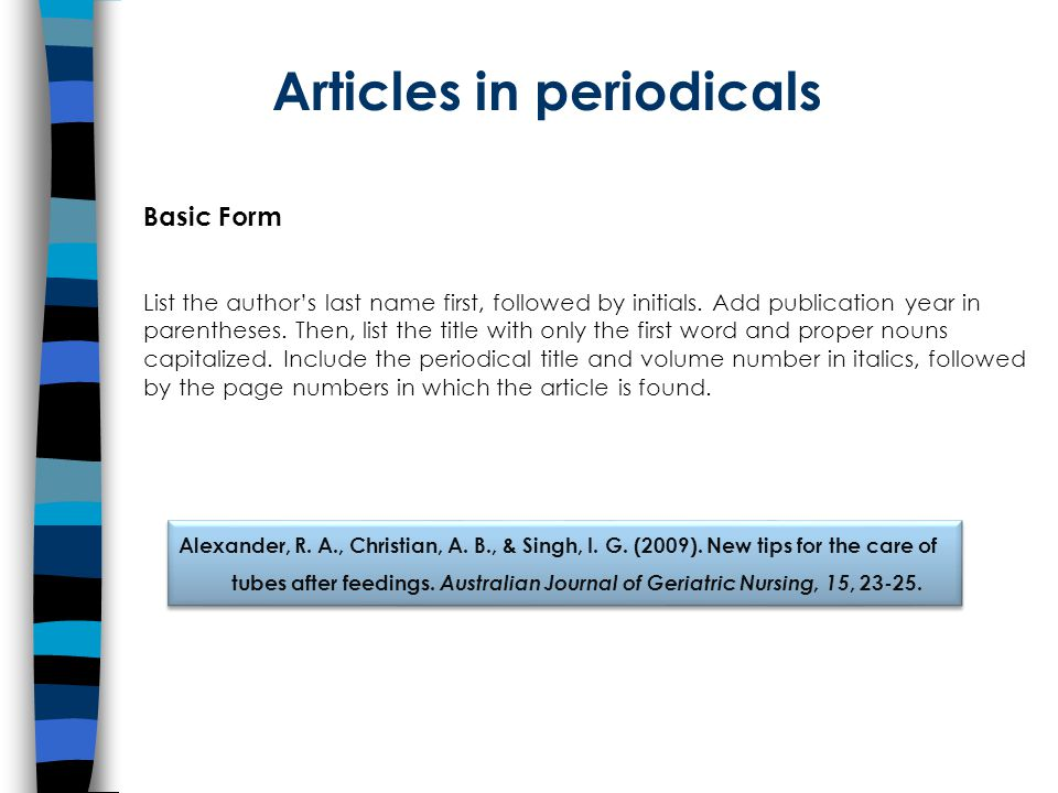 Articles in periodicals Basic Form List the author's last name first, followed by initials.