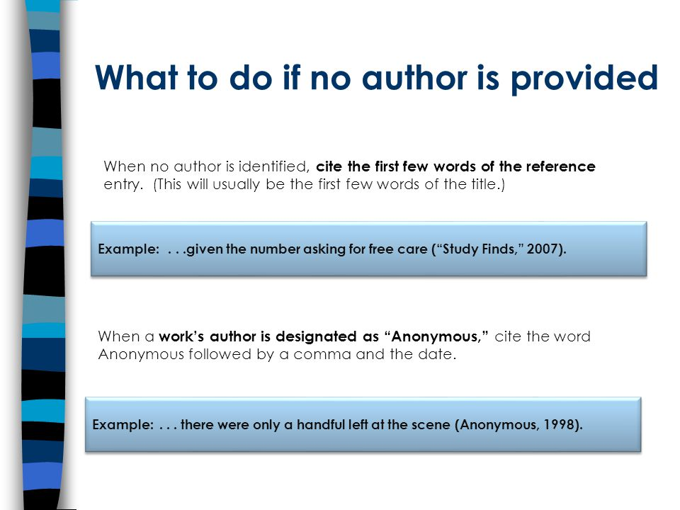 What to do if no author is provided When a work's author is designated as Anonymous, cite the word Anonymous followed by a comma and the date.