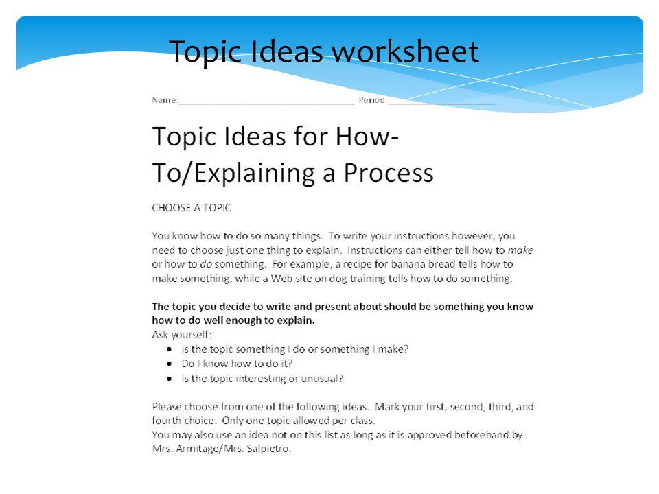 Topic Ideas worksheet