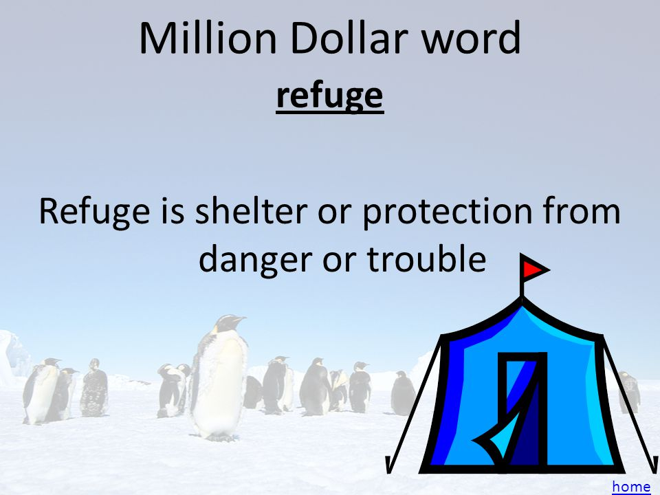 Million Dollar word refuge Refuge is shelter or protection from danger or trouble home