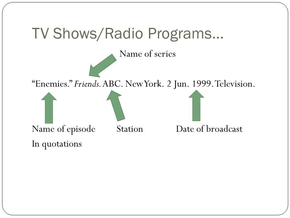TV Shows/Radio Programs… Name of series Enemies. Friends.
