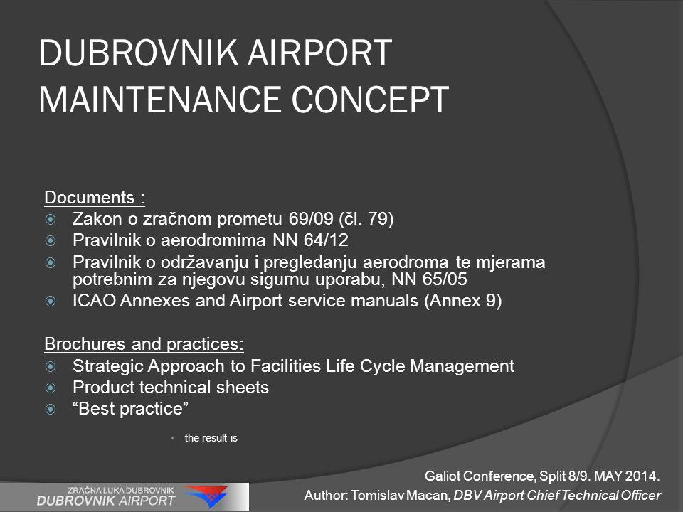 DUBROVNIK AIRPORT MAINTENANCE CONCEPT Documents :  Zakon o zračnom prometu 69/09 (čl. 79)  Pravilnik o aerodromima NN 64/12  Pravilnik o održavanju