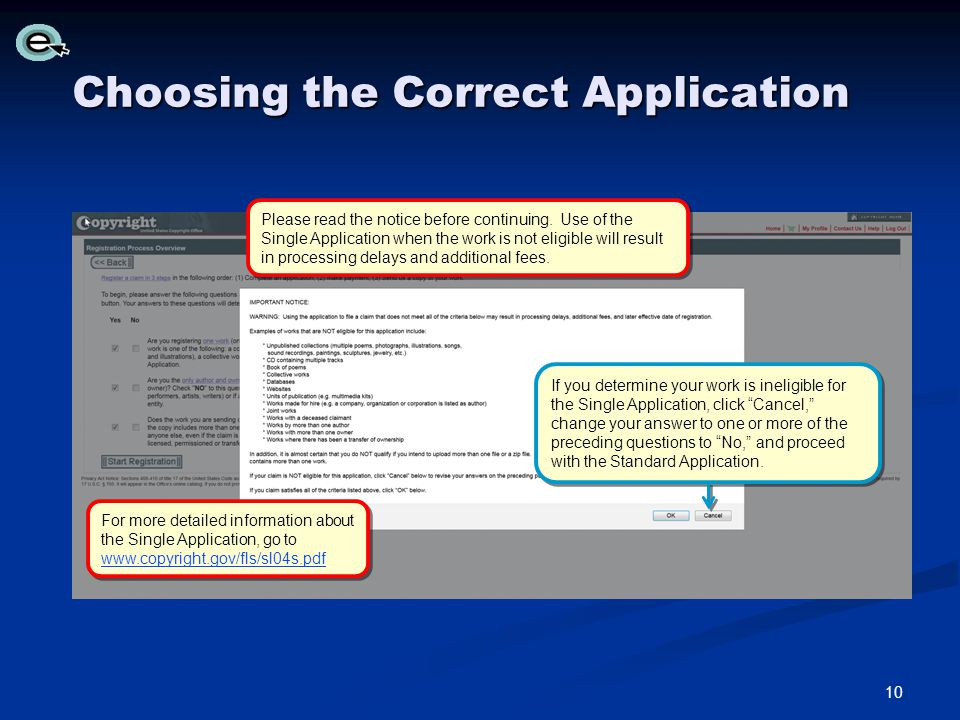 Choosing the Correct Application Please read the notice before continuing.