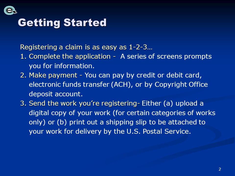 Paying with a Copyright Office Deposit Account Click the Pay button to select the account to charge.