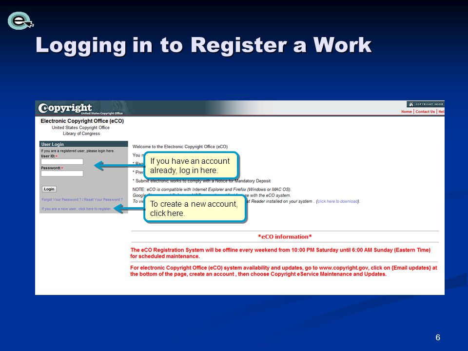 Logging in to Register a Work If you have an account already, log in here.