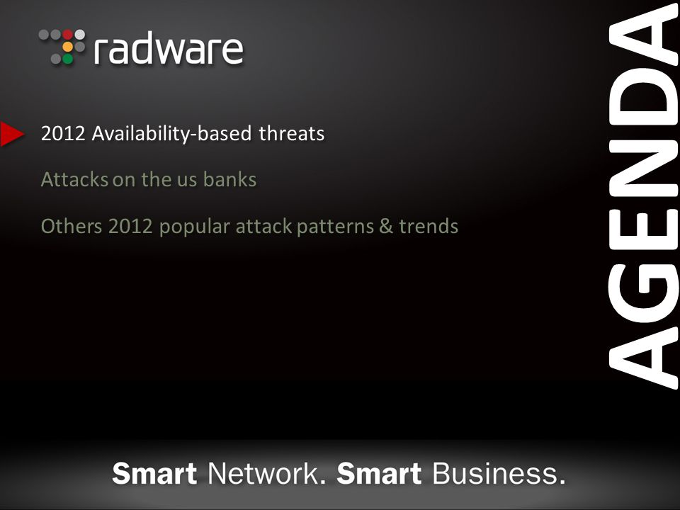 AGENDA 2012 Availability-based threats Attacks on the us banks Others 2012 popular attack patterns & trends 2012 Availability-based threats Attacks on the us banks Others 2012 popular attack patterns & trends