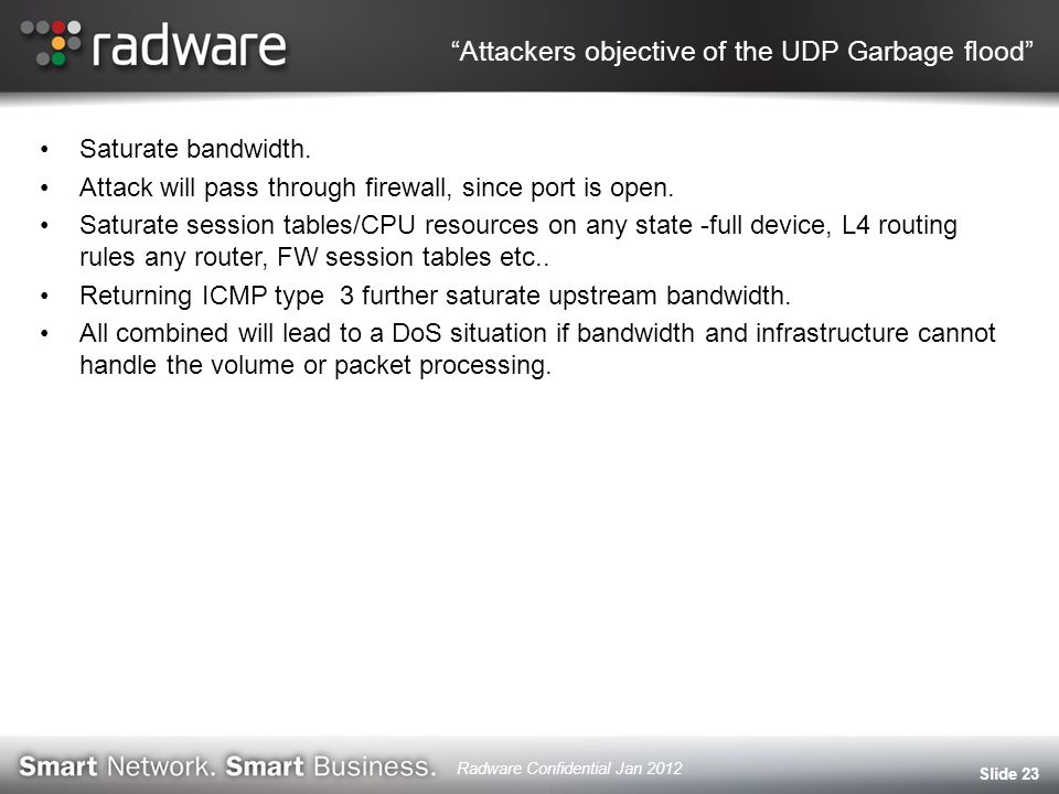 Attackers objective of the UDP Garbage flood Saturate bandwidth.