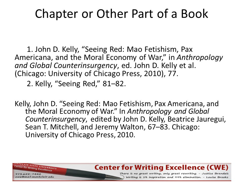 Chapter or Other Part of a Book 1. John D.