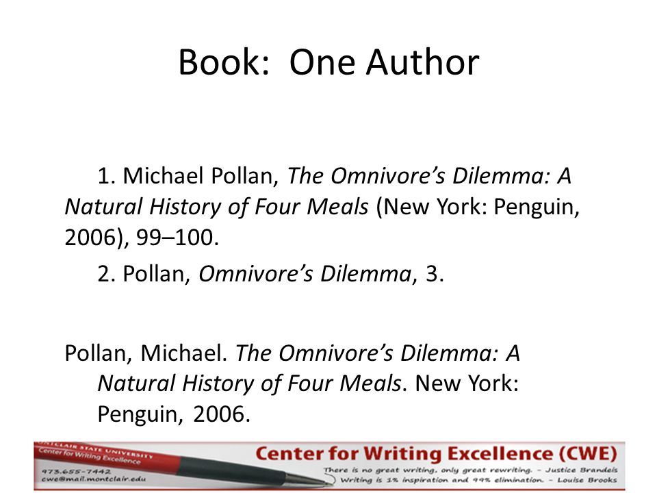 Book: One Author 1.