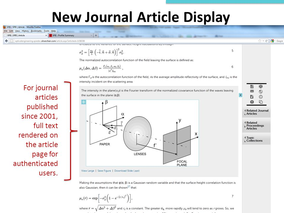 New Journal Article Display For journal articles published since 2001, full text rendered on the article page for authenticated users.