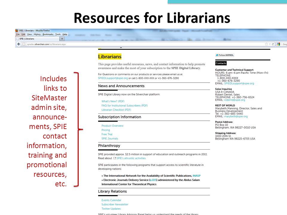 Resources for Librarians Includes links to SiteMaster admin site, announce- ments, SPIE contact information, training and promotional resources, etc.