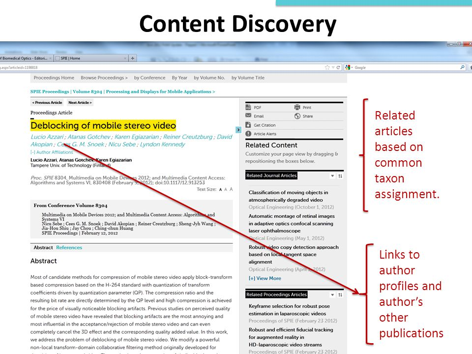 Content Discovery Related articles based on common taxon assignment. Links to author profiles and author's other publications