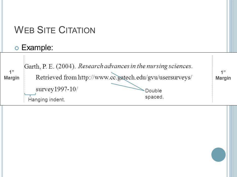 W EB S ITE C ITATION Example: 1 Margin 1 Margin (2004).