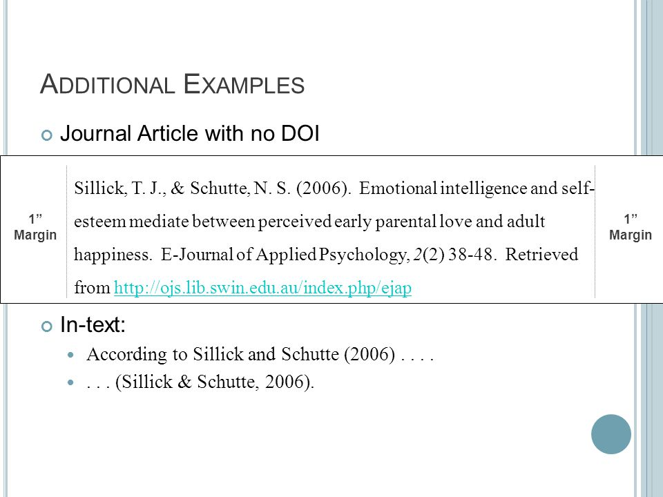A DDITIONAL E XAMPLES Journal Article with no DOI In-text: According to Sillick and Schutte (2006).......