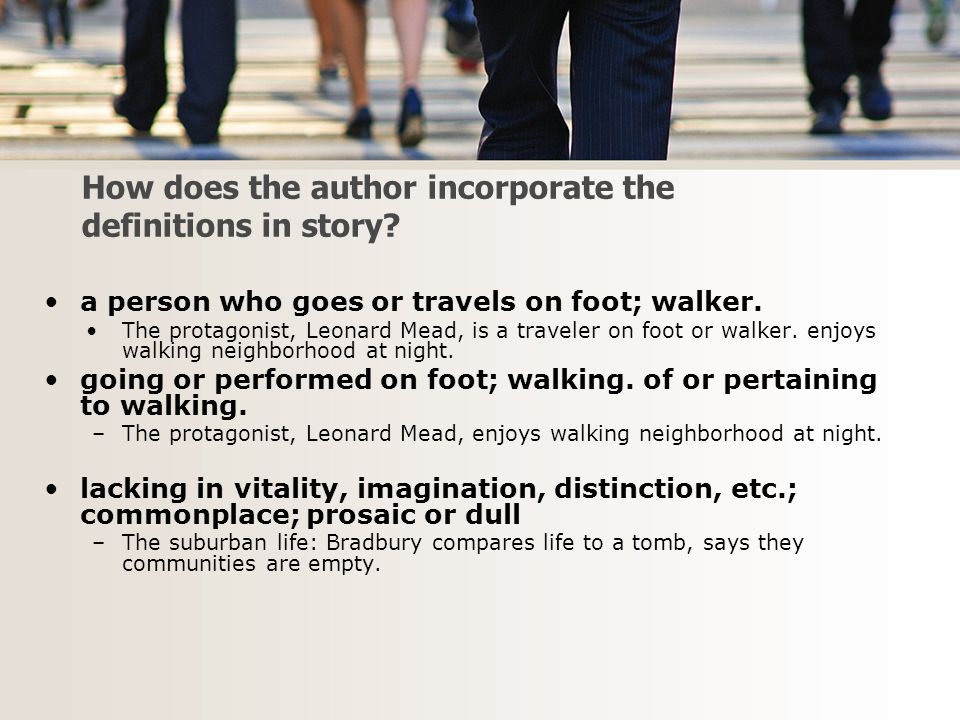 How does the author incorporate the definitions in story.