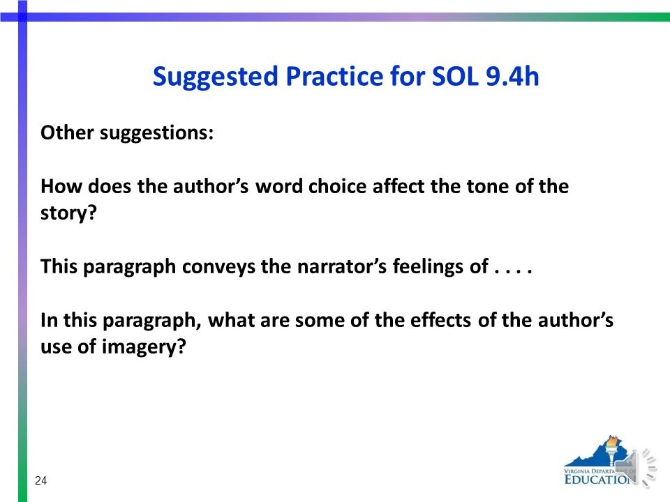 Suggested Practice for SOL 9.4h Additional suggestions: The purpose of the images in paragraphs (insert number) and (insert number) is....
